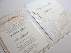 BONNIE Lace Wedding Invitations - Double Sided. $768.75, via Etsy.