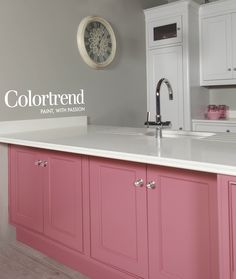 Walls: Shark Fin 0574 in Ceramic Matt finish. Woodwork: Pink Chocolate in Satinwood finish & Metro 0530 in Satinwood finish. Shark Fin, Pink Chocolate, Kitchen Layout, Ideal Home, Color Trends, Paint Colors, Kitchen Cabinets, Dining Room, Walls