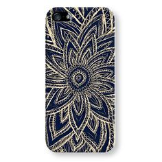 Cute Retro Gold Abstract Flower on Black // Hand Drawn Design #flower #iPhone #Case #Customize