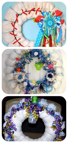 How to make diaper wreath : With different colors/decorations would be cute for a baby shower - cool shower gift----lots of cute wreaths on this Diy Yarn Wreath, Candy Wreath, Felt Wreath, Fabric Wreath, Moss Wreath, Yarn Wreaths, Door Wreaths, Wreath Burlap, Coffee Filter Wreath