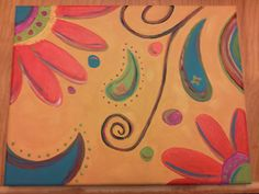 paisley painted on canvas
