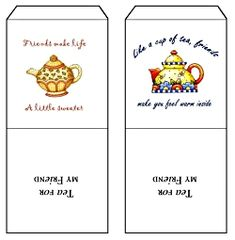 """Free Printable Tea bag covers, language of tea, recipes and tea quotes, found at http://home.kendra.com/victorianrituals/victor/teacovers.htm"""