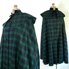 Green Blue Plaid Long Cape Shawl Collar // Womens Sherlock