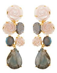 Earrings with Pink Carved Mother of Pearl and Labradorite by Bounkit | Bounkit