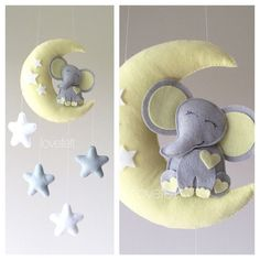 Baby mobile - elephant mobile - Crib Mobile - baby mobile elephant - elephant on the moon mobile - Baby Mobile Stars - moon mobile - neutral Elephant Mobile, Elephant Nursery, Elephant Elephant, Mobiles, Star Wars Baby, Construction Paper Art, Baby Hangers, Room Themes, Baby Cribs