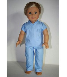 AG Doll Fan shares a couple of free patterns on her blog, Arts and Crafts for your American Girl Doll, for making a set of hospital scrubs for an 18″ doll. Use a solid blue broadcloth to ma…