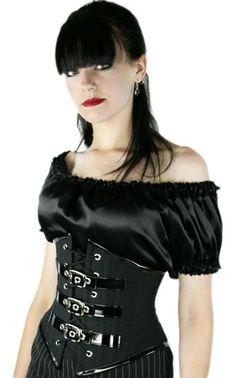 Brand new and exclusive black brocade underbust with black buckles and steel metal clasps making it perfect for any gothic occasion. * 12 Double Layer Steel Bones * Stainless Steel Busk Closure * 100%