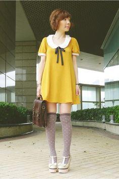 #polka dot Collar Dress, Shirt Dress, Mustard Dressing, Brown Satchel, Mary Jane Heels, Japanese Street Fashion, Fall Looks, Fashion Lookbook, Cute Shirts