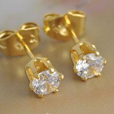 Women's 9k Yellow Gold Filled Hypo-Allergenic CZ Stud Pierced Earrings 17mm #Stud