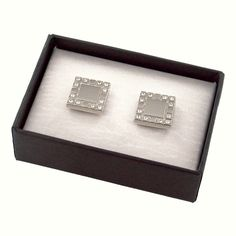Personalized Shiny Silver Metal Cufflinks w/ Crystals in Gift Box. Each cufflink features 12 crystals and measures x x each. Box measures 3 x 2 x