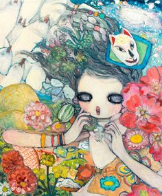 """Painting by タカノ綾 Aya Takano: Ejecta (Oil on canvas)"" / Art Basel Hong Kong 2013 / Pretty Art, Cute Art, Japanese Contemporary Art, Aya Takano, Art Basel Hong Kong, Funky Art, Art Plastique, Aesthetic Art, Asian Art"