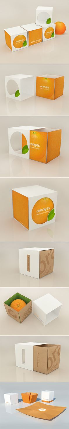 Orange packaging by Bublik , via Behance, Who wants an orange PD Apple Packaging, Juice Packaging, Cool Packaging, Food Packaging Design, Packaging Design Inspiration, Brand Packaging, Ui Inspiration, Innovative Packaging, Gift Box Design