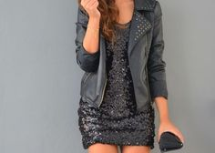 Sparkly dress and Leather jacket Cute Dresses, Cute Outfits, Dress Outfits, Short Dresses, Leather Jacket Dress, Leather Jackets, Moto Jacket, Fashion Beauty, Womens Fashion