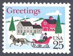WOW, look at all the twinkling lights! Leena, our Postationist Elf is most impressed with the lights that children from the USA help their families put on their houses for Christmas. She especially loves the enormous Christmas trees in the cities all over the Unites States of America, that are decorated beautifully and help spread festive cheer. (Stamps: USA, 1988)