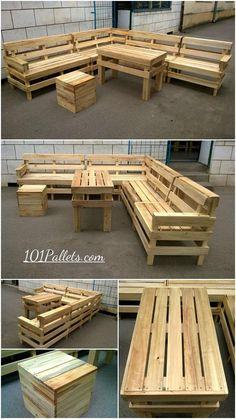 DIY Pallet Patio or Outdoor Furniture Set - #101pallets