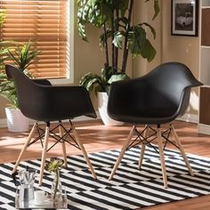 Pascal Black Plastic Mid-Century Modern Shell Chair (Set of 2) - Free Shipping Today - Overstock.com - 14045557 - Mobile