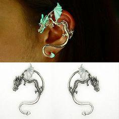 Gothic-Punk-Silver-Dragon-Snake-Luminous-Ear-Cuff-Clip-Wrap-Earring-Retro-Gift