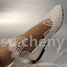 White light ivory lace pearls crstal flat ballet Wedding shoes Bridal size 5-12