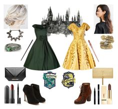 """Slytherin and Hufflepuff Friendship - Fancy Party Look #2"" by kaffepausen on Polyvore featuring Elizabeth Arden, PUR, Frye, Salvatore Ferragamo, Natalie B, Roland Mouret, Yves Saint Laurent, harrypotter, slytherin and Hufflepuff"