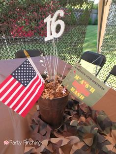 Mash Bash, Mash tv show themed party, 16th birthday centerpieces