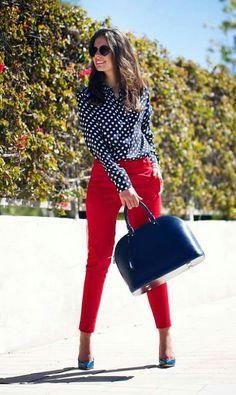 Red pants, navy polka dot blouse