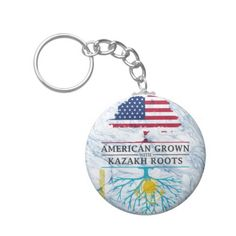 American Grown with Kazakh Roots Marble Style Keychain