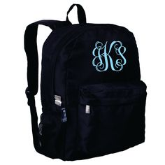 Monogram Backpack and Lunch Bag Set - Wildkin - Personalized - Rip Stop Black - Back to School Crackerjack by DesignsbyDaffy on Etsy