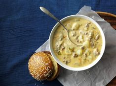 This bubbly burger-inspired soup is sure to hit the spot on a cold day—or any day, for that matter. This bubbly burger-inspired soup is sure to hit the spot on a cold day—or any day, for that matter. Turkey Broth, Turkey Soup, Best Soup Recipes, Chowder Recipes, Favorite Recipes, Pie Recipes, Healthy Recipes, Korma, Biryani
