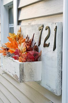 Address Planter Address Numbers box Rustic Front by BrandNewToMe