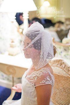 Voile court mariage blusher Tulle en point par Bijouxenpagaille, €30.00