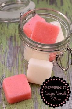 1/4 cup Coconut Oil,1/2 cup Shredded Soap, 3-4 drops of Peppermint Oil,1 cup organic sugar, Red Mica Colorant…