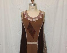 Reconstructed  dress  funky top   sleeveless dress loose fit  OOAK Large mocha animal print handckerchife hem