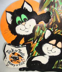 vintage halloween wall decorations flocked black cats in corn stalks ebay - Vintage Halloween Decorations Ebay