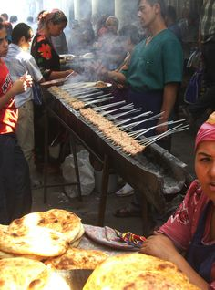 Street Food . Non and shashlik . Uzbekistan