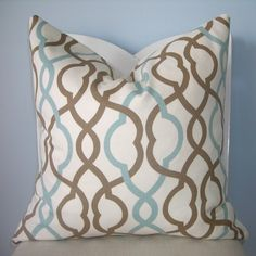 Blue and Brown Geometric Trellis Decorative Pillow by pillowplush
