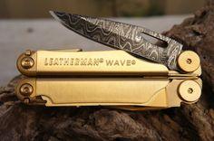 Leatherman Wave Multi-Tool - 24k Gold Series - Damascus Steel Blade via Etsy