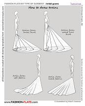 how to draw dress with train and a full site of draws of every kind of dress