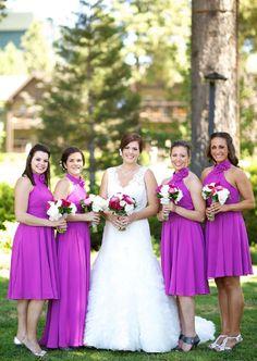 purple bridesmaid dresses ,white lace wedding dress here