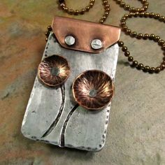 Mixed Metals Necklace with Riveted Copper Flowers in Aluminum and Copper