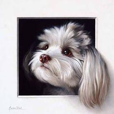 Little dog trompe-l'oeil, oil painting. That was such a lovely commission to work on: I loved painting this adorable furry creature! Ça a été fort agréable de travailler sur cette commande: j'ai adoré peindre cette adorable créature! Marina Dieul