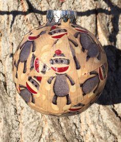 Sock Monkey shatterproof Christmas ornament by kits257 on Etsy