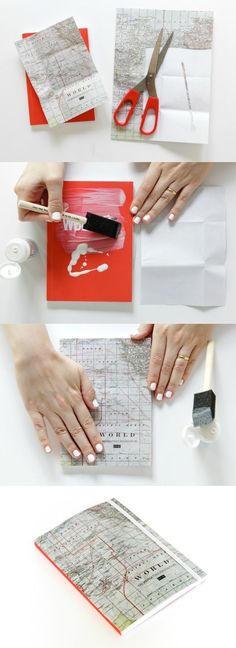 Easy map craft - makeover a notebook with Mod Podge!