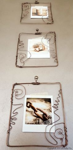 Upwards view of the three wire frames with instax prints Diy Canvas Frame, Diy Frame, Wire Picture Frames, Coffee Table Upcycle, Mother Daughter Projects, Traditional Frames, Vinyl Tablecloth, Diy Fall Wreath, Baskets On Wall