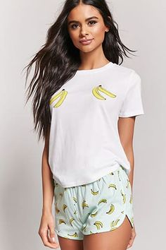 Banana Graphic Pajama Tee & Shorts Set