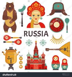 Find Russia Icons Set Vector Collection Russian stock images in HD and millions of other royalty-free stock photos, illustrations and vectors in the Shutterstock collection. Russia Culture, Culture Day, Russian Party, Russian Cartoons, Around The World Theme, Russian Tattoo, Geography For Kids, Thinking Day, Nature Images