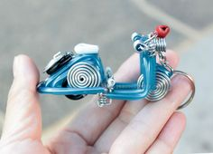 10 Pcs Vespa Scooter Motorcycle Keychain Key Chain Wire by YesCool