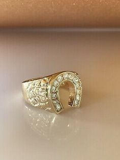Size Jewel Tie Solid 14k Rose Yellow /& White Gold 15 Years Birthday Horse Shoe Ring 4
