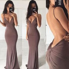 Sexy Sheath Backless V-Neck Chiffon Brown Long Evening Dresses, New Arrive…