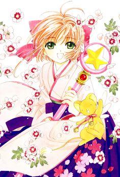 CLAMP, Cardcaptor Sakura, Kero-chan, Kinomoto Sakura, Pink Flower, Sealing Wand (Star Form)