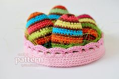 Crochet Pattern – Striped Easter Eggs In A Bowl